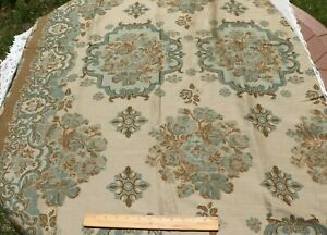 Antique-c1900-1920-French-Wool-Jacquard-Woven-Sample-Fabric-Frame-W-Border