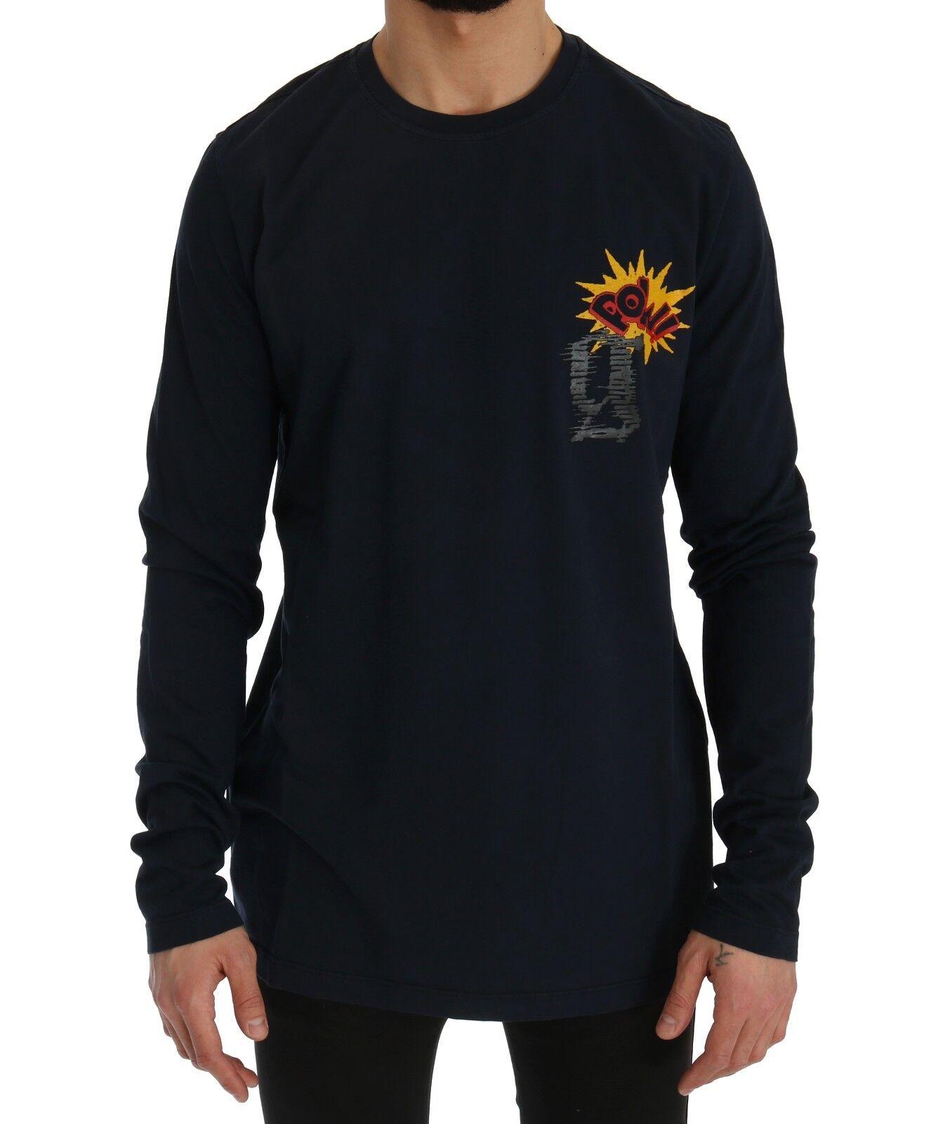 Nuovo Galliano T-Shirt Maglione Blu Motivo Pow Manica Lunga Girocollo S. XL