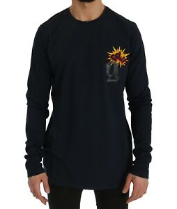 NEW-GALLIANO-T-shirt-Sweater-Blue-Motive-POW-Long-Sleeve-Crew-neck-s-XL