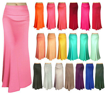Solid Long Maxi Skirt Waist Foldover Full Length Lightweight Rayon Spandex USA