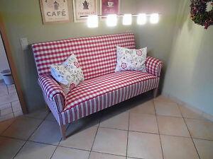schwedensofa k chensofa 3 sitzer mit hohem r cken karo streifen ebay. Black Bedroom Furniture Sets. Home Design Ideas