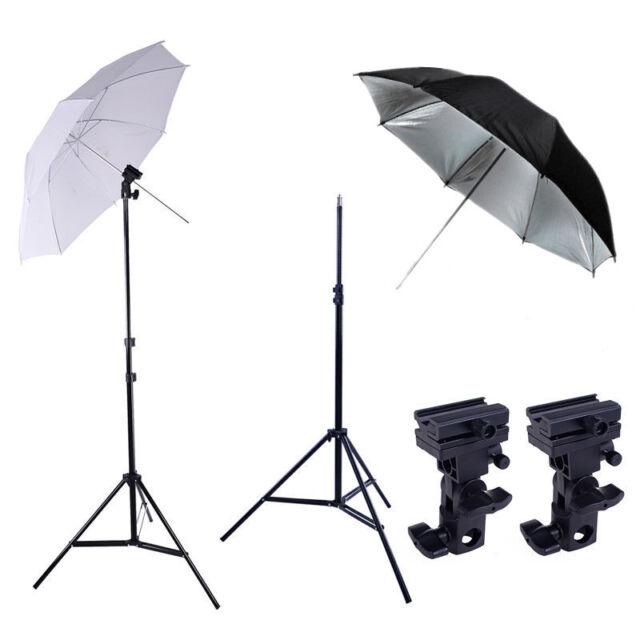 Photography Studio Speedlite Flash Umbrella Lighting Light Stand+2 Bracket B Kit