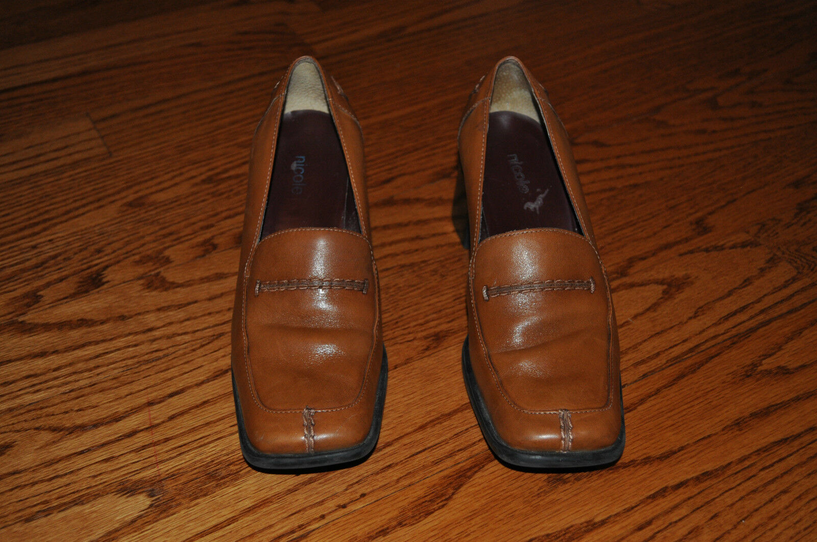 Womens NICOLE Brown Leather shoes Heels Size 7.5 M MADE IN BRAZIL