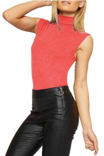 Donne ragazze senza maniche Plain Polo Turtle Neck Stretch Bodycon Gilet T-Shirt Top