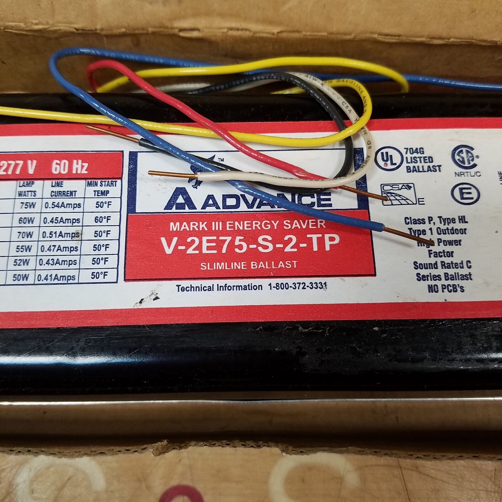 6 New In Box Advance V2E75-S-TP Mark III Energy Saver Slimline Ballast 277V