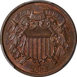 1868-Two-2-Cent-Piece-PCGS-MS63BN-Superb-Eye-Appeal-Strong-Strike
