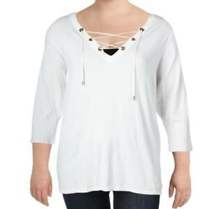 Details About Calvin Klein Womens 99 White 34 Sleeve Lace Up Knit Sweater Top Plus 2x Nwt