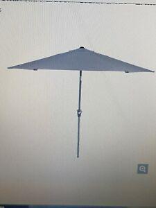 Modern Outdoor Garden Market Parasol Dark Grey Polyester Canopy LED Lights Rapal