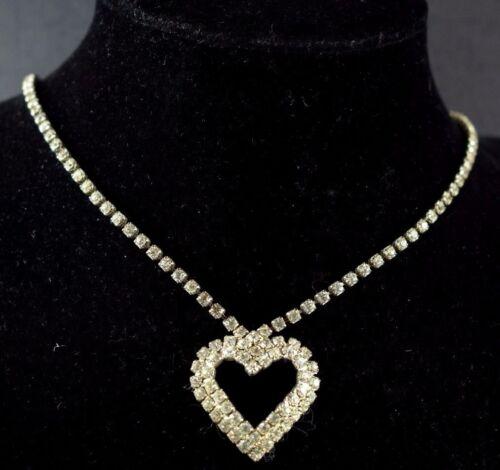1930's-40's Mod Fabulous Rhinestones Heart Necklac