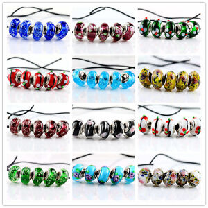 20Color-SILVER-MURANO-GLASS-BEAD-fit-European-Charm-Bracelet-Jewelry-Making-Bead
