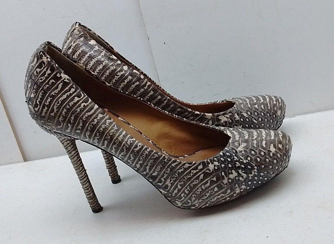 L.A.M.B. noir femme en cuir Blanc Serpent Imprimé Talon Haut Pompe Parti Chaussures 9.5 M