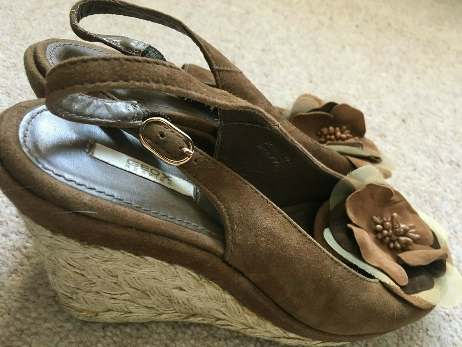 GEOX BROWN SUEDE LEATHER WEDGE SANDALS 4 (37)
