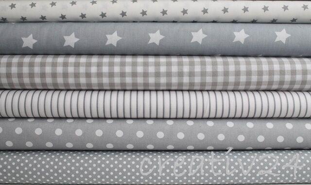(EUR 9,80/m) Stenzo Baumwollstoff Popelin - Punkte - Sterne - Streifen grau/weiß