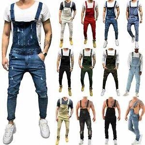 Mens-Casual-Denim-Jeans-Pants-Bib-Overall-Distressed-Jumpsuit-Suspender-Trousers