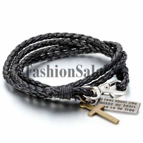 Femme Homme Vintage Fait à la main multicouche en cuir croix bracelet bracelet manchette