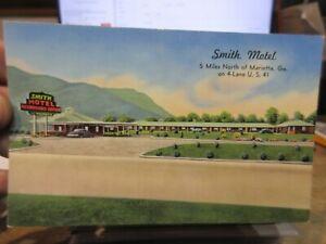 Vintage-Old-GEORGIA-Postcard-Marietta-Smith-Motel-US-route-41-Roadside-Court-Car