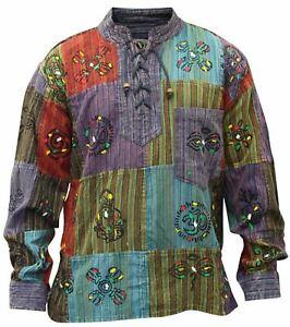 Mens-Patchwork-Stonewashed-Hippie-Collarless-Grandad-Shirt-Summer-Mens-Hippy-Top