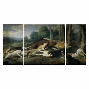Wexford-Home-039-Boar-Hunt-039-Canvas-Wall-Art-Set-of-3