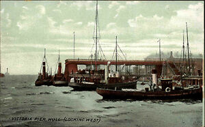 Kingston-upon-Hull-England-AK-1910-Victoria-Pier-Ships-Schiffe-Boats-Boote