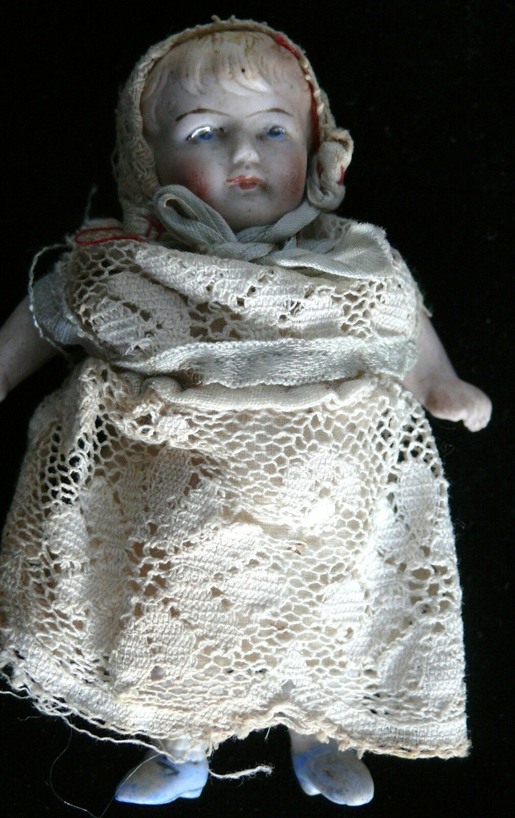 MINIATURE GERMAN  1 BISQUE DOLL IN ORIGINAL CLOTHES