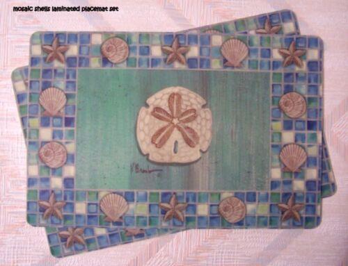 "Coastal Shells Placemat Set /""Mosaic Shells/"" Kay Dee"
