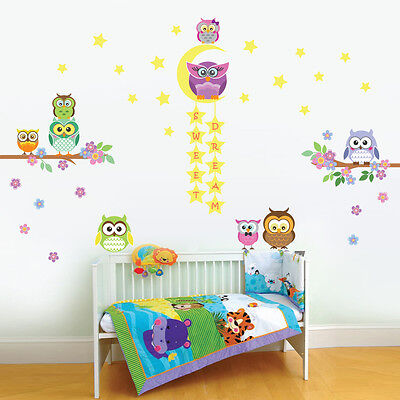 Walplus Owl Tree Star Nursery kid Wall Stickers Mural Decal Paper Art Decoration