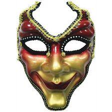 Máscara facial completa rojo y dorado-Vestido De Fantasía Veneciana Mascarada Baile Venecia
