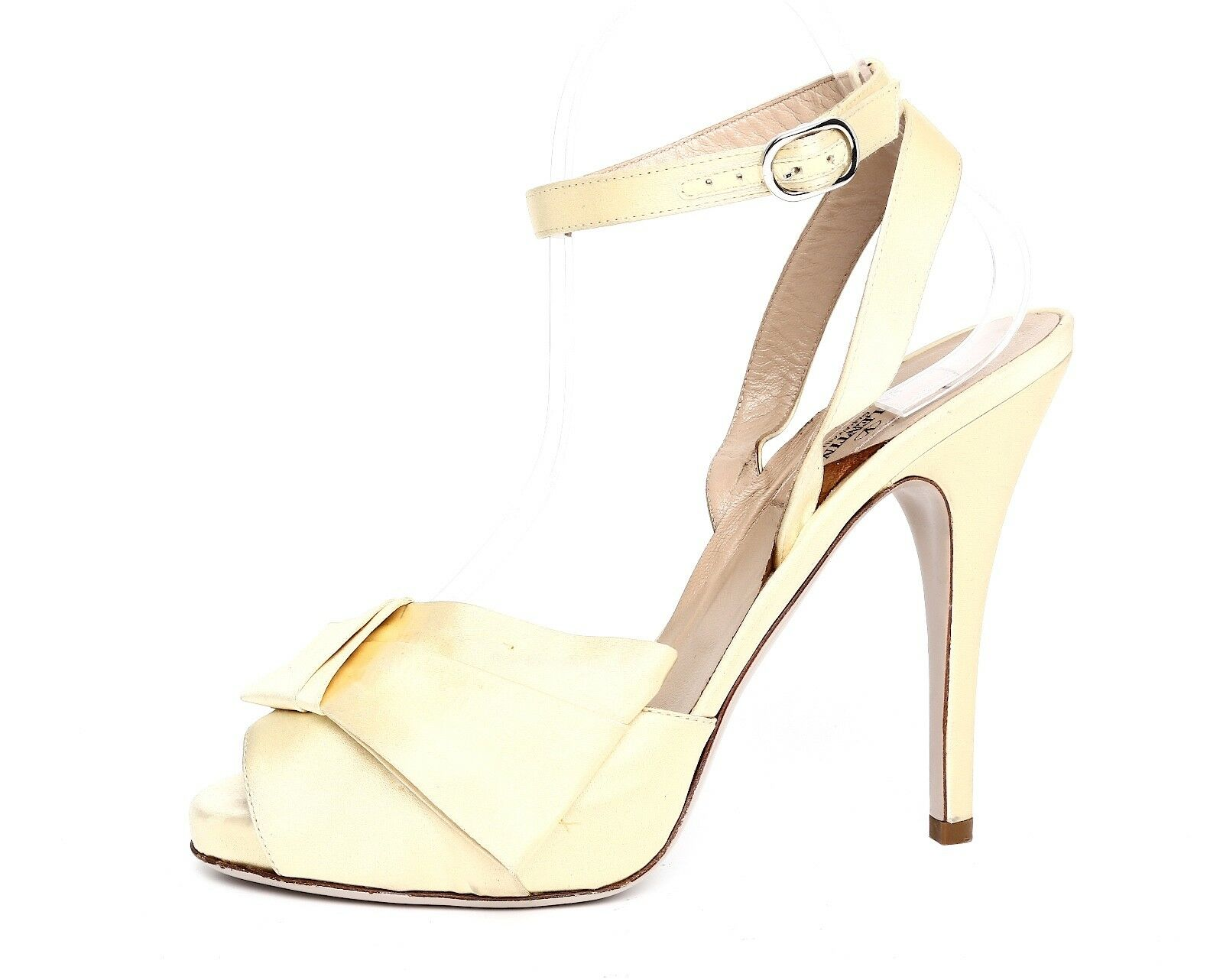 Valentino Garavani Women's High Heel Yellow Satin Sandals Sz 37 EUR 3076