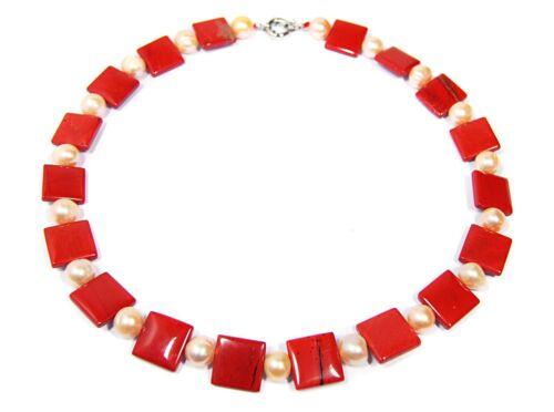 Encantadoras Joyas Collar de jaspe rojo con perlas de agua dulce