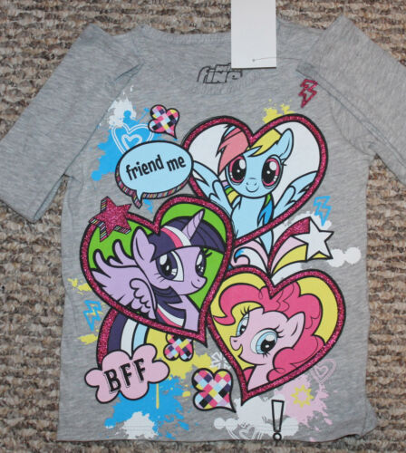 """- Size 2T or 3T Girls My Little Pony Shirt /""""Friend Me/""""; Text;Gray; Macy/'s New"""