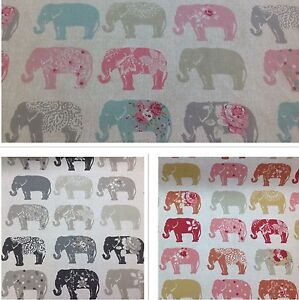 Clarke And Clarke Studio G Elephants Cotton Print Fabric For