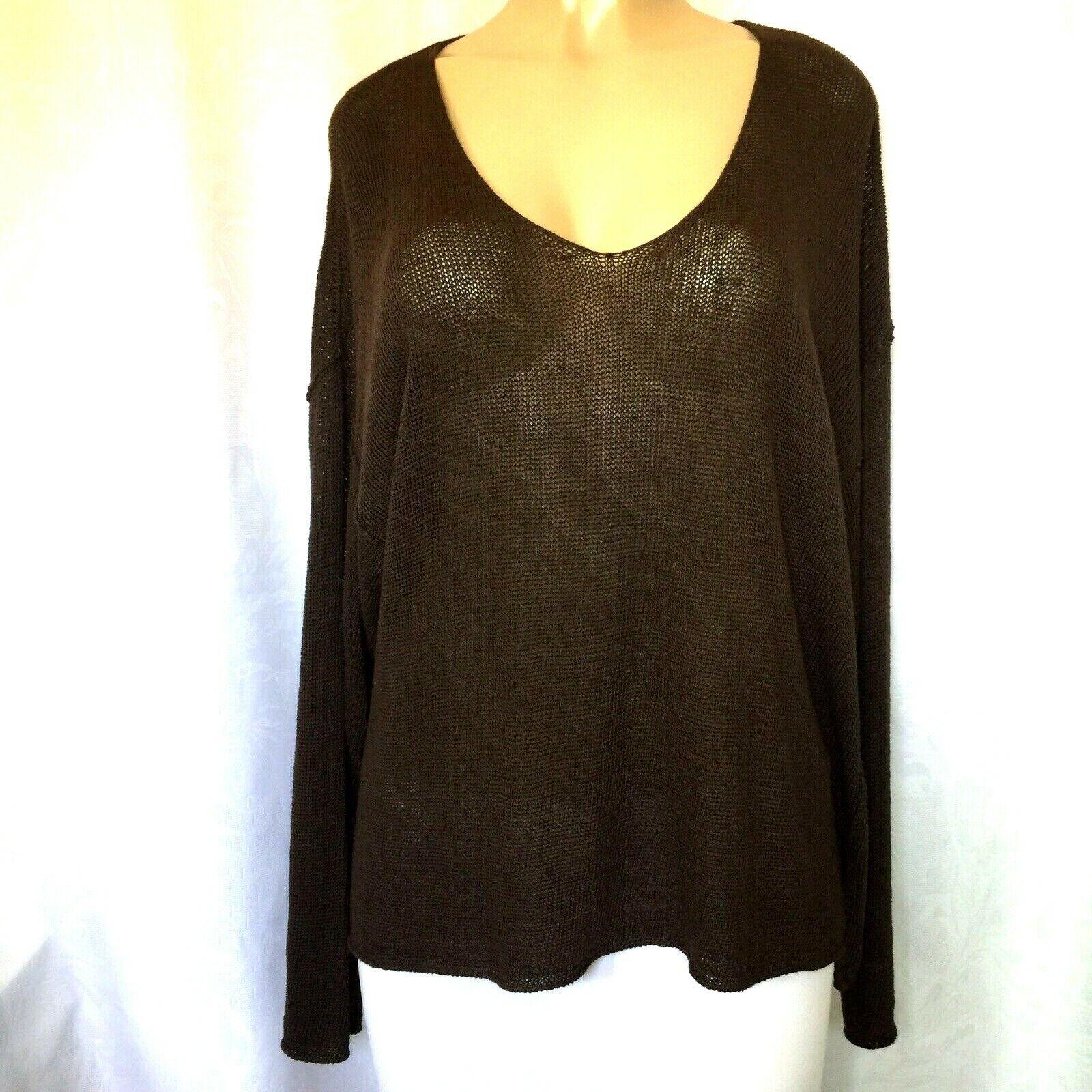 MARIA DI RIPAWeiß Top Sweater Linen Shirt Knit braun Long Sleeve V Neck 12 L