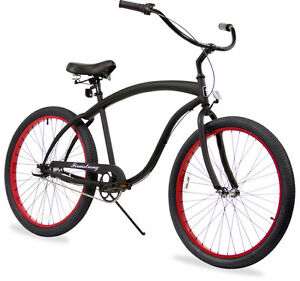 "26"" Beach Cruiser Bicycle Firmstrong Bruiser Men 3 spd matt black w Red rims"