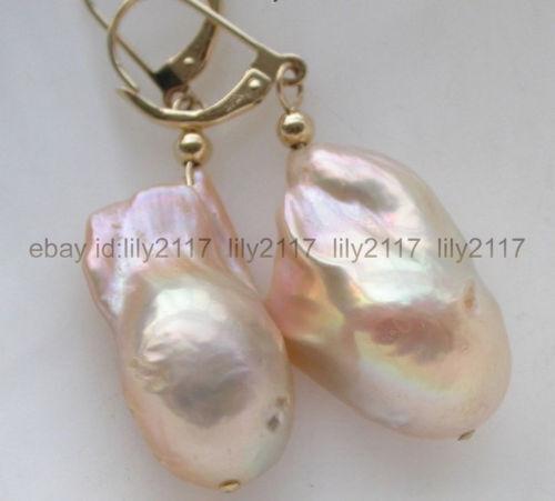 14K OR MASSIF Ondulé Boule De Perles /& Pearl Drop Leverback Boucles D/'oreilles