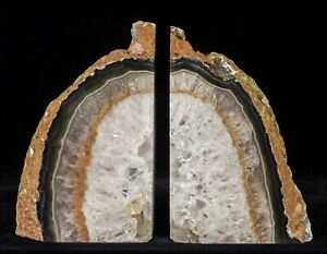8-3Lbs-Agate-Bookends-Geode-Crystal-Polished-Brazil-Specimen