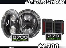 JW SPEAKER 8700 EVOLUTION J SERIES HEADLIGHT and Tail Lights package JK New Jeep