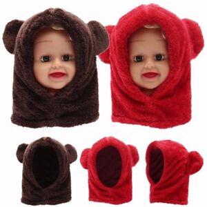 6378fa0948c Cute Toddler Boy Girl Baby Kids Warm Winter Hat Hood Scarf Beanie ...