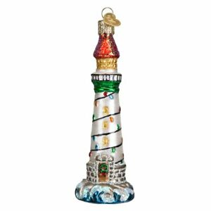 Old World Christmas HOLIDAY LIGHTHOUSE (20039)N Glass Ornament w/ OWC Box