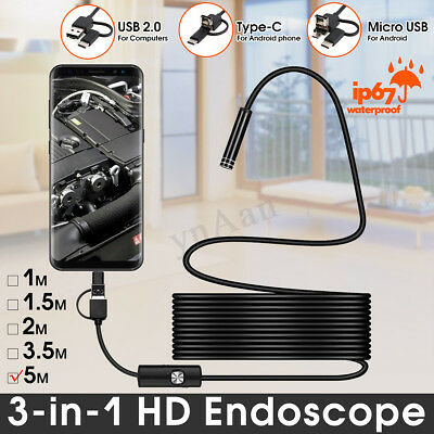 IP67 WiFi Wireless Type-c 8 LED Inspection Camera Waterproof for Android 5m