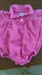 b78cbe8b Details about Baby girl polo ralph lauren pink short sleeved romper bubble  size 9 months