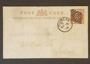 1889-Dublin-Ireland-Lloyd-039-s-Bank-Commercial-Postal-Stationary-Postcard-Cover