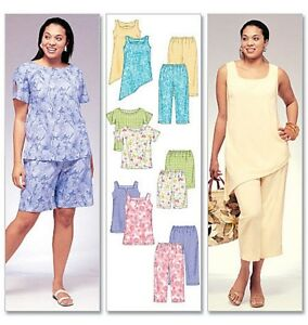 McCall-039-s-4097-Plus-Size-Tops-Tunics-Shorts-Pants-Trousers-Sewing-Pattern