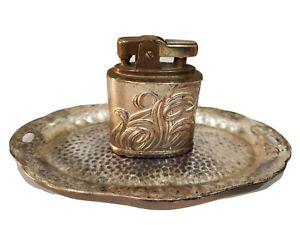 Lot-Of-2-Vintage-Working-Lighter-amp-Ashtray-Ornate-Occupied-Japan