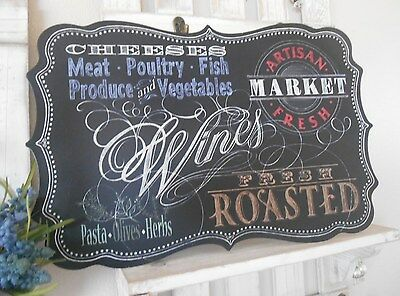 Shabby Metal Wall Plaque/Chic Tin Sign/Kitchen/Bistro/Pub Blackboard Style/Gift
