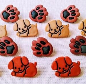 18-SEWING-BUTTONS-Dog-Puppy-Vtg-Novelty-Foot-Paw-Print-Canine-Black-Brown-Pet