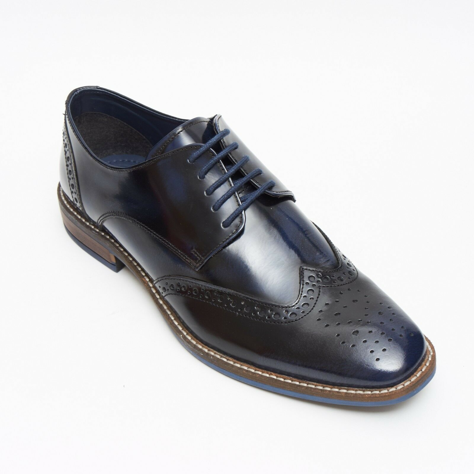 Lucini Formal Men Blue Navy Leather Formal Lace-Up Brogues Shoes Wedding Office
