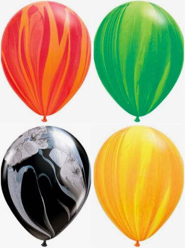 """12-Count 11/"""" Qualatex Agate Marbled Swirl Tie-Dye Latex Party Balloons"""