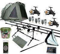 3 Rod Carbon Carp Fishing Set Up Kit Rods Reels Alarms Bivvy Tackle