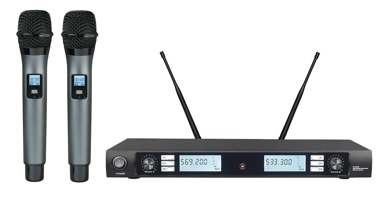 Wireless Microphone System UHF Professional Dual Cordless mic Set Karaoke Vocal