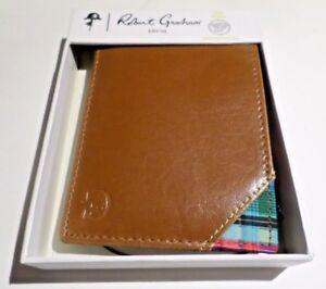 Robert Graham Aberdeen Bifold Leather Card Case Wallet RFID Cognac Brown Tan $78